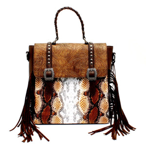 Python Brown Concealed Carry Backpack/Crossbody Bag