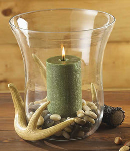 Large Antler Hurricane Candle Holder
