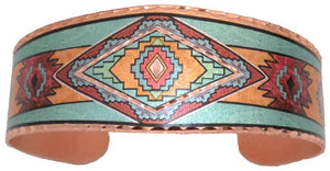 Copper Bracelet with Color Southwestern Native Design