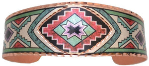 Copper Bracelet with Color Southwestern Star Design
