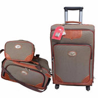 Western 3-Piece Light Brown Luggage Set with Longhorn Conchos