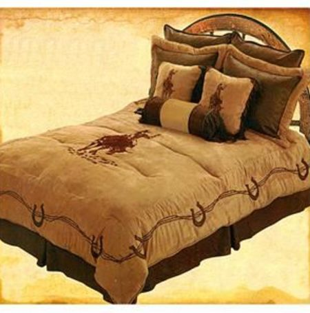 """Bull Rider"" Western Embroidered 7-Piece Comforter Set - Queen"