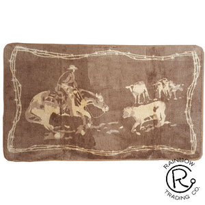 """Rodeo Cutting"" Western Area Rug 30"" x 50"""