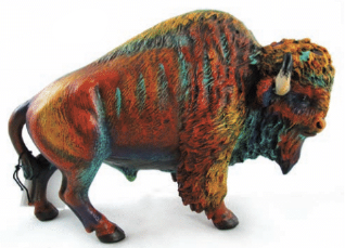Bison Sculpture with Multi-Colors