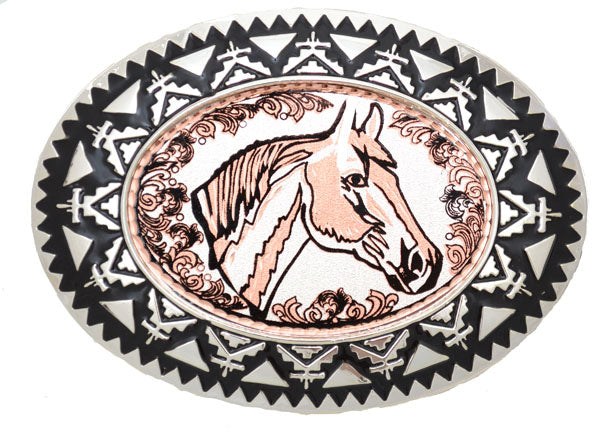 Copper Belt Buckle Horsehead with Filigree