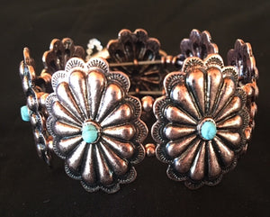 Western Copper Floral Stretch Bracelet with Turquoise Stones