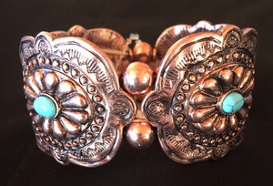 Western Copper Aztec Stretch Bracelet with Turquoise Stones