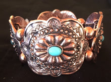 Load image into Gallery viewer, Western Copper Aztec Stretch Bracelet with Turquoise Stones
