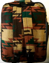 "Load image into Gallery viewer, Southwestern ""Santa Fe"" Style Backpack Green/Brown"