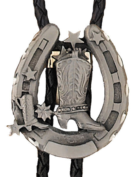 Boot and Lucky Horseshoe Bolo Tie (Made in the USA)