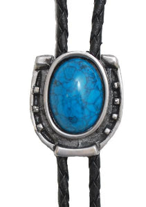 Antique Silver Horseshoe with Blue Stone Bolo Tie (Made in USA)