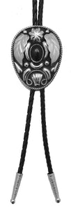 German Silver and Onyx Bolo Tie