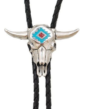 Steerhead Bolo Tie with Turquoise and Coral Inlay (Made in the USA)