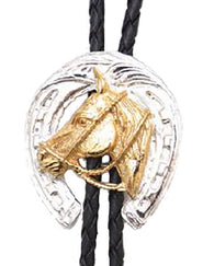 German Silver and Gold Horsehead Horseshoe Bolo Tie
