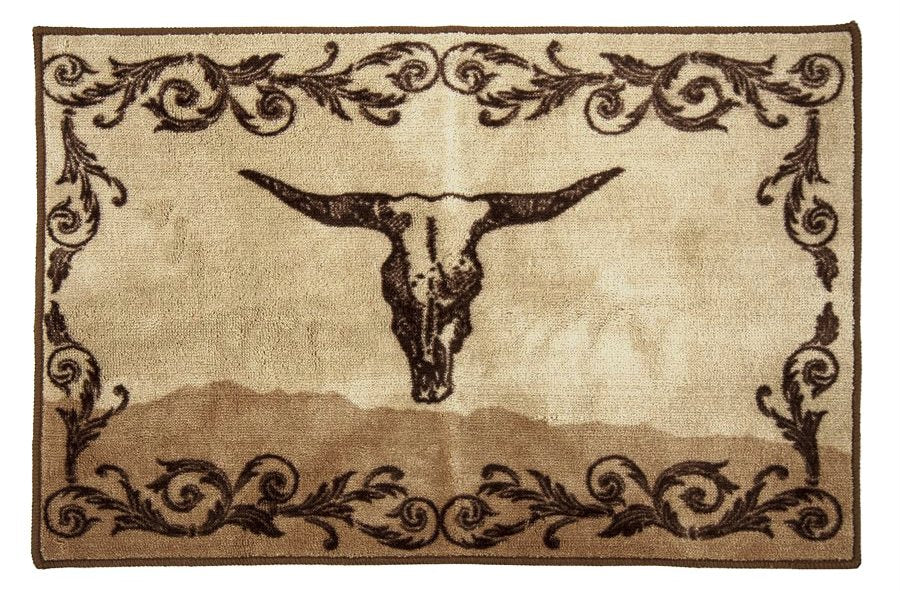 Scroll with Skull Bath/Kitchen Rug - 2' X 3'