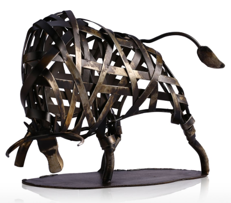 Metal Sculpture Iron Braided Bull - Available in 2 Colors!