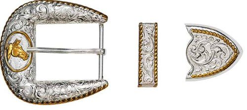 Western 3-Piece Buckle Set with Horse Head