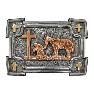 Praying Cowboy Belt Buckle by Crumrine