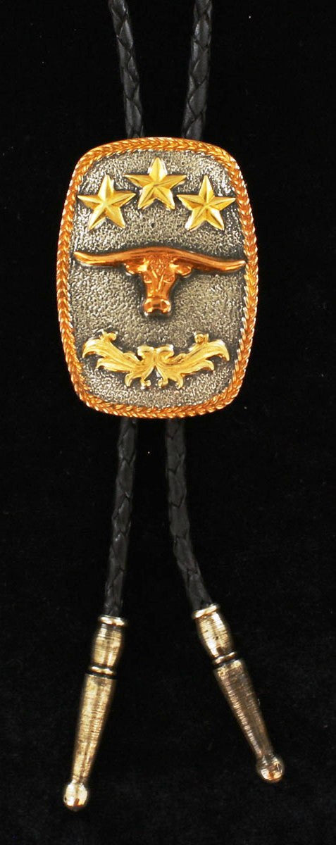 Western Triple Tone Oval Bolo with Longhorn