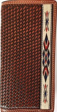 Western Rodeo Wallet with Tapestry Edge and Basketweave Leather