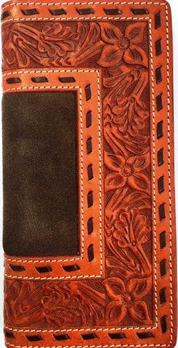 Western Tooled & Distressed Leather Rodeo Wallet with Brown Back Stitching
