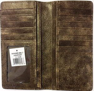 Western Distressed Black Leather Rodeo Wallet with Double Buck Stitching