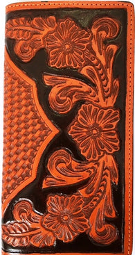 Western Black & Tan Floral/Basketweave Leather Rodeo Wallet/Checkbook Cover