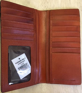 Western Dark Tan Floral Leather Rodeo Wallet/Checkbook Cover