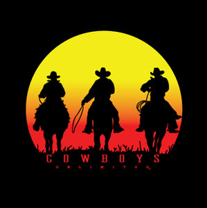 """Sunset"" Cowboys Unlimited Adult T-Shirt - Front Print Only"