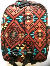 "Load image into Gallery viewer, Southwestern ""Santa Fe"" Style Backpack Rust"