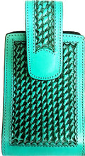 "Load image into Gallery viewer, Western Hand Carved Basketweave Leather Cell Phone Holder Turquoise - Holds Up to 6"" Tall"