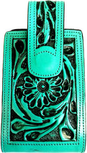 "Load image into Gallery viewer, Western Hand Tooled Leather Cell Phone Holder Turquoise - Holds Up to 6"" Tall"