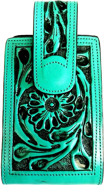 Western Hand Tooled Leather Cell Phone Holder Turquoise - Holds Up to 6