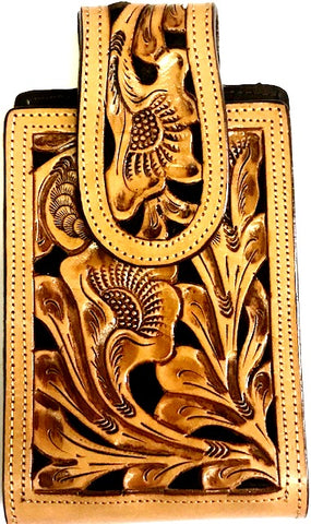 "Western Hand Tooled Leather Cell Phone Holder Black & Natural - Holds Up to 6-1/2"" Tall"