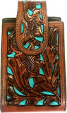 "Western Hand Tooled Leather Cell Phone Holder Brown & Blue - Holds Up to 6-1/2"" Tall"