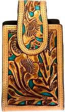 "Load image into Gallery viewer, Western Hand Tooled Leather Cell Phone Holder Turquoise & Natural - Holds Up to 6-1/2"" Tall"
