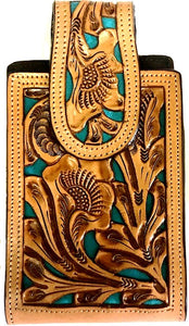 "Western Hand Tooled Leather Cell Phone Holder Turquoise & Natural - Holds Up to 6-1/2"" Tall"