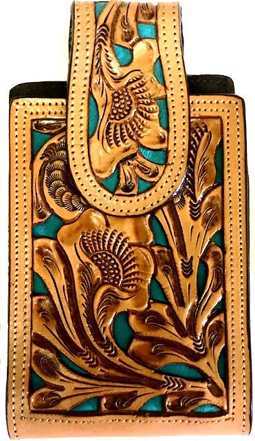 Western Hand Tooled Leather Cell Phone Holder Turquoise & Natural - Holds Up to 6-1/2