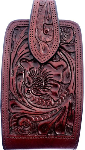 Western Hand Tooled Brown Leather Cell Phone Holder  - Holds Up to 7