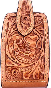 "Western Hand Tooled Natural Leather Cell Phone Holder  - Holds Up to 7"" Tall"