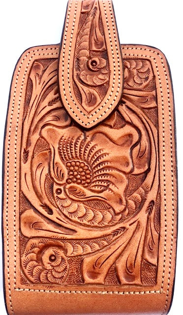 Western Hand Tooled Natural Leather Cell Phone Holder  - Holds Up to 7