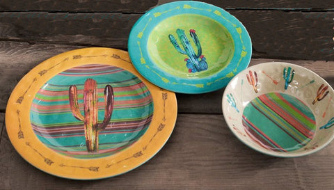 Cactus Design Melamine 12-Piece Dinnerware Set