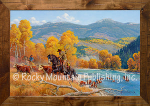 """Crossing the Snake River"" Western Framed Canvas Print"