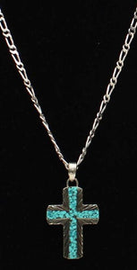 Silver Strike Men's Silver & Turquoise Cross Necklace
