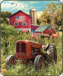 """Patriotic Tractor"" Officially Licensed Faux Fur™ Medium Weight Blanket"