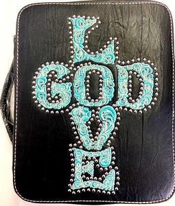 Western Bible Cover with Embroidered LOVE GOD - Choose From 2 Colors!