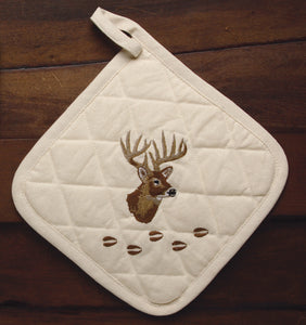 """Deer"" 100% Cotton Embroidered Pot Holder"