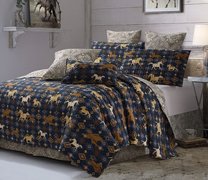 """Wild & Free Navy"" 3-Piece Quilt Set - Choose From King or Queen"