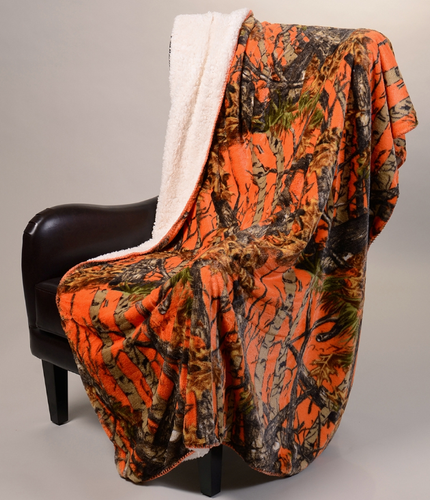 """The Woods""© Orange Licensed Faux Fur™ Luxury Plush Sherpa Throw"