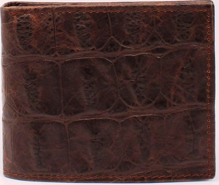 Western Dark Brown Gator Leather Bi-Fold Wallet